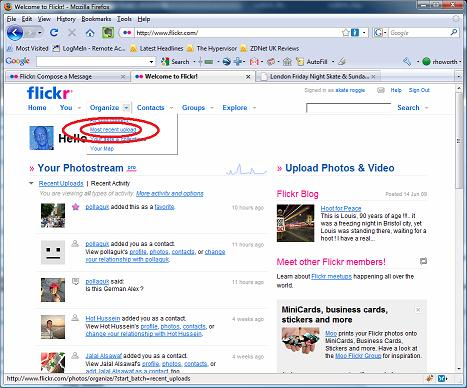 Use this menu option (highlighted by the red circles) to get to Flickr's batch organise page.